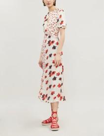 SELF-PORTRAIT Mixed Floral-Print Crepe Cream Dress
