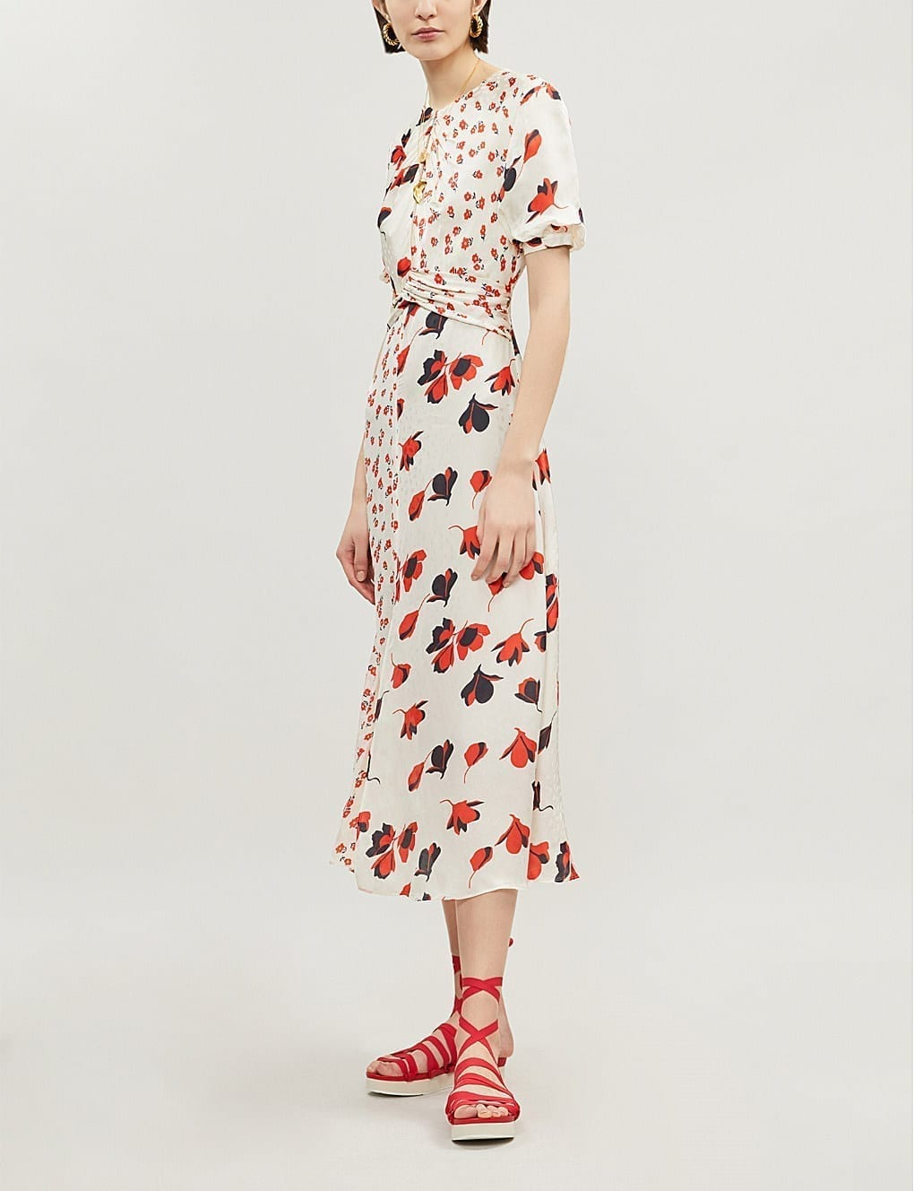SELF-PORTRAIT Mixed Floral-Print Crepe Cream Dress