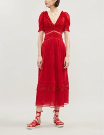 SELF-PORTRAIT Plumetis Crepe Midi Dark Red Dress