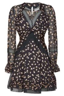 SELF-PORTRAIT Printed Lace Mini Black Dress