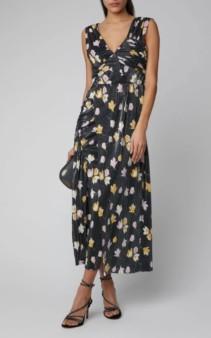 SELF PORTRAIT Ruched Printed Plissé Maxi Black Dress