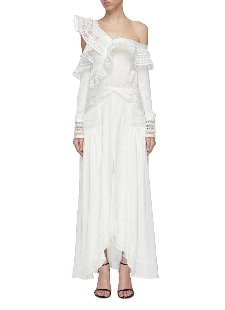 SELF-PORTRAIT Ruffle Trime One-Shoulder White Dress