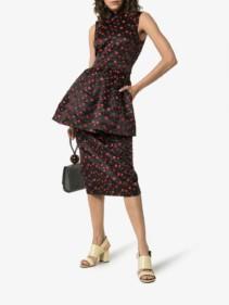 SIMONE ROCHA Floral Embroidered Mock Neck Peplum Black Dress