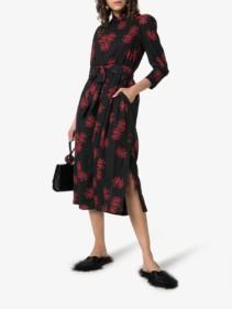 SIMONE ROCHA Midi Black / Floral Printed Dress