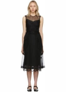 SIMONE ROCHA Tulle Belted A-Line Black Dress