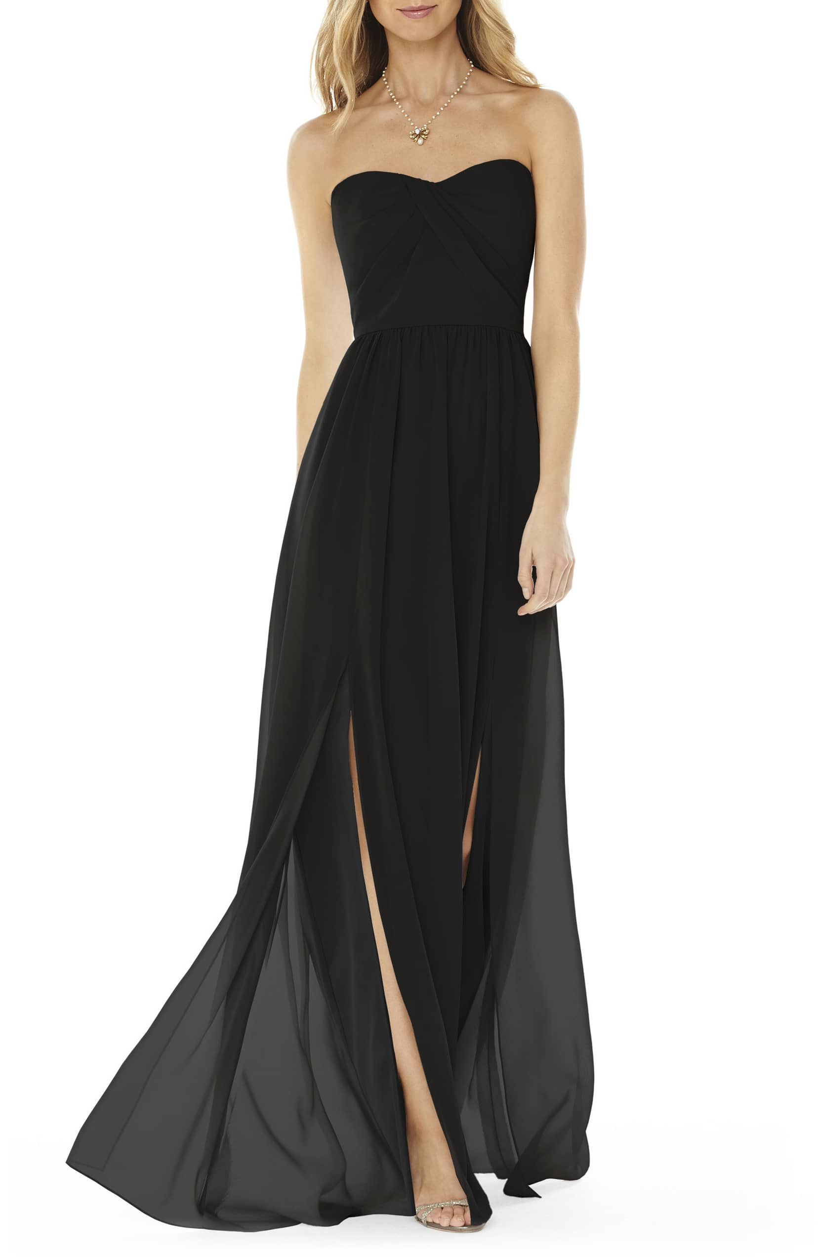 SOCIAL BRIDESMAIDS Strapless Georgette Black Gown
