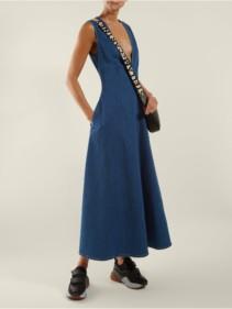 STELLA MCCARTNEY Bias-cut Denim Blue Dress