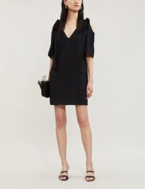 STELLA MCCARTNEY Tie-Detail Cold-Shoulder Crepe Black Dress