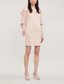 STELLA MCCARTNEY Tie-detail Cold-Shoulder Crepe Rose Pink Dress