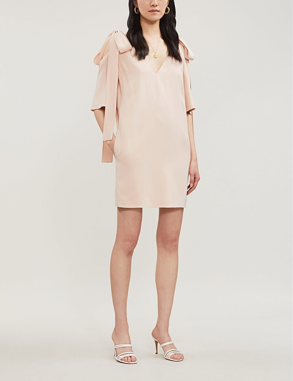 STELLA MCCARTNEY Tie-detail Cold-Shoulder Crepe Rose Pink Dress