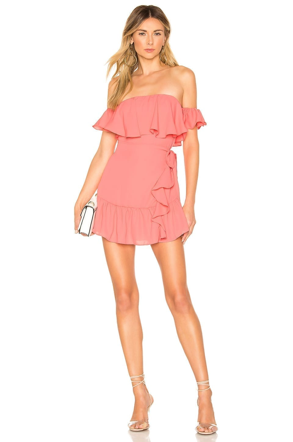 SUPERDOWN Jolene Ruffle Wrap Pink Dress