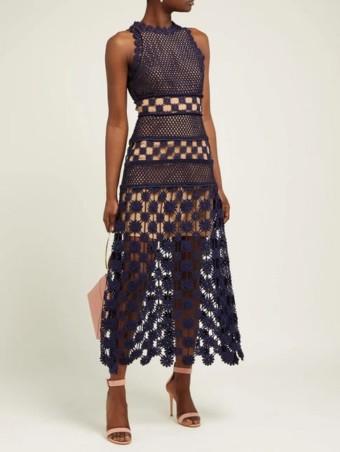 SELF-PORTRAIT Floral Crochet Navy Dress