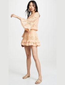 TEMPTATION POSITANO Asti Off Shoulder Flare Sleeve Mini Papaya Dress