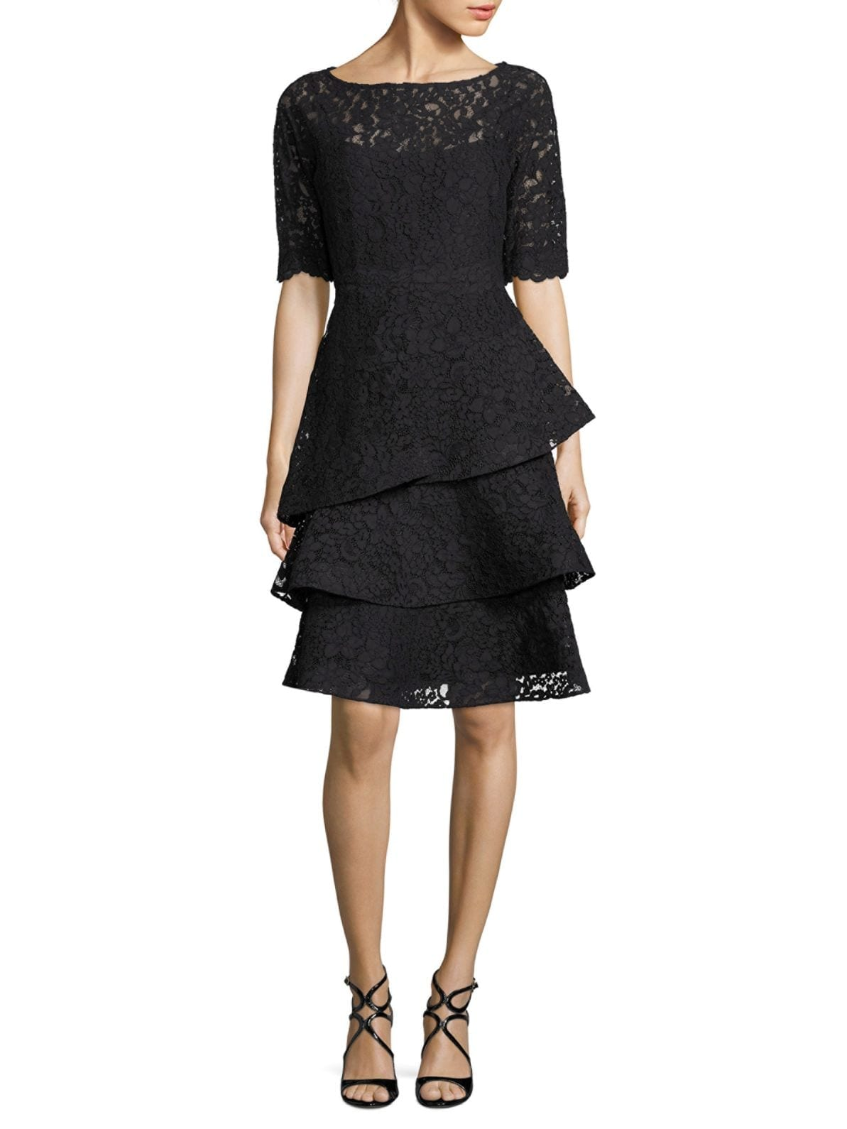 TERI JON BY RICKIE FREEMAN Lace Tiered Ruffle Black Dress