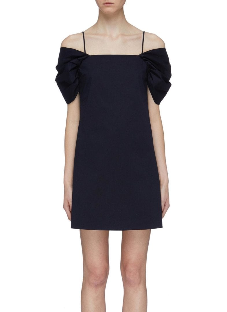 THEORY Ruched Sleeve Off-Shoulder Navy Dress