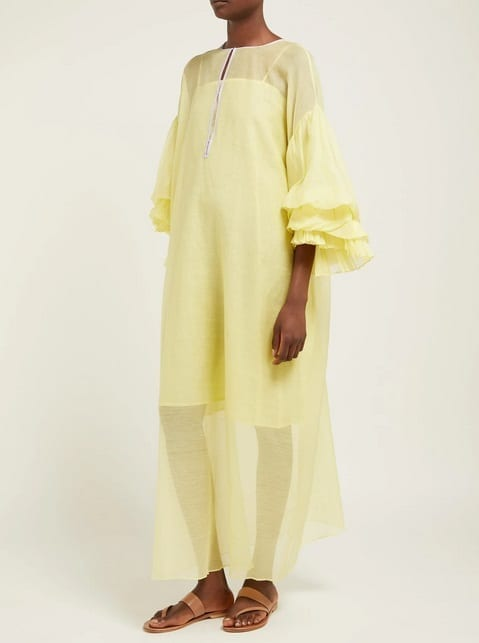 THIERRY COLSON Tahara Cotton-Blend Kaftan Yellow Dress