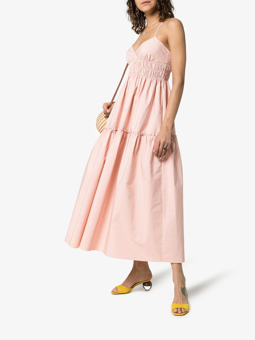 THREE GRACES Emma Cross Back Strappy Midi Pink Dress