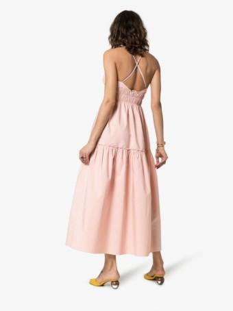THREE GRACES Emma Cross Back Strappy Midi Pink Dress