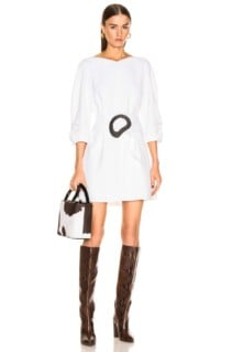 TIBI Shirred Sleeve White Dress