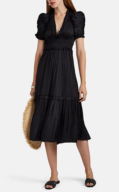 ULLA JOHNSON Maya Embroidered Plissé Black Dress