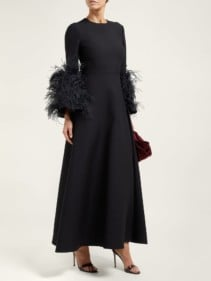 VALENTINO Feather-Trimmed Wool And Silk-Blend Black Gown