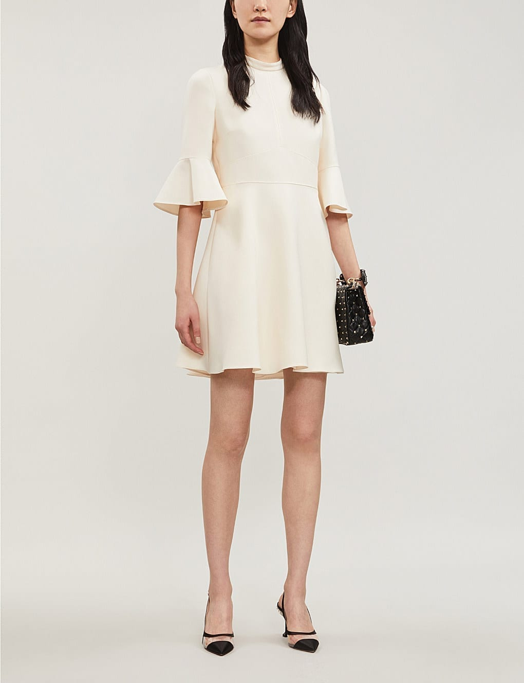 VALENTINO Flared Wool and Silk-Blend Ivory Dress