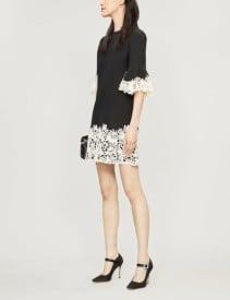 VALENTINO Floral-Trim Wool and Silk-Blend Black White Dress