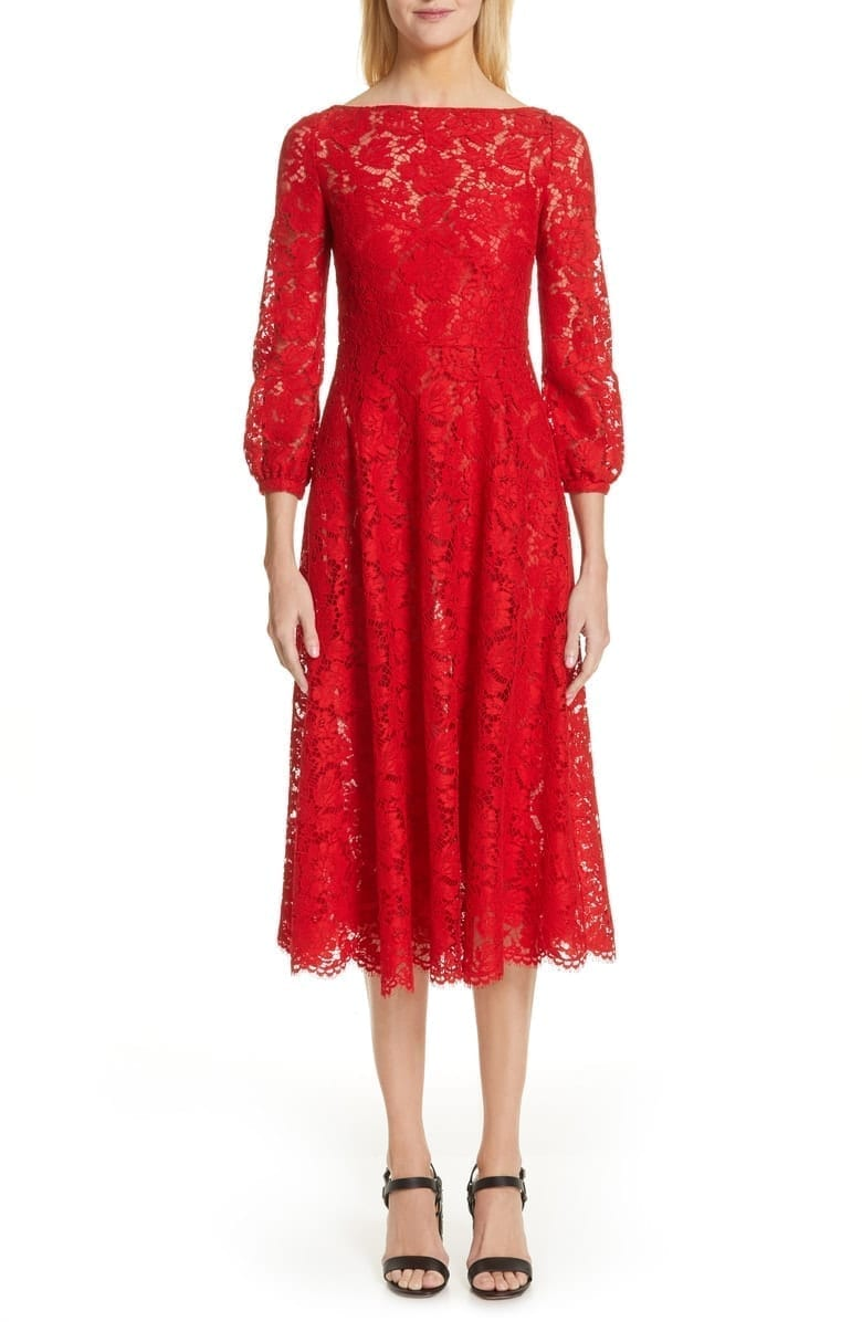 VALENTINO Lace A-Line Midi Red Dress