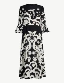 VALENTINO Pheonix Peacock-Print Silk-Crepe Midi Black & White Dress