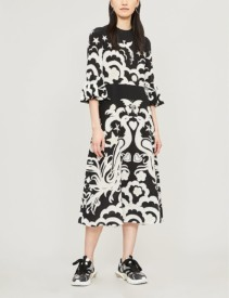 VALENTINO Pheonix Peacock-Print Silk-Crepe Midi Black & White Dress
