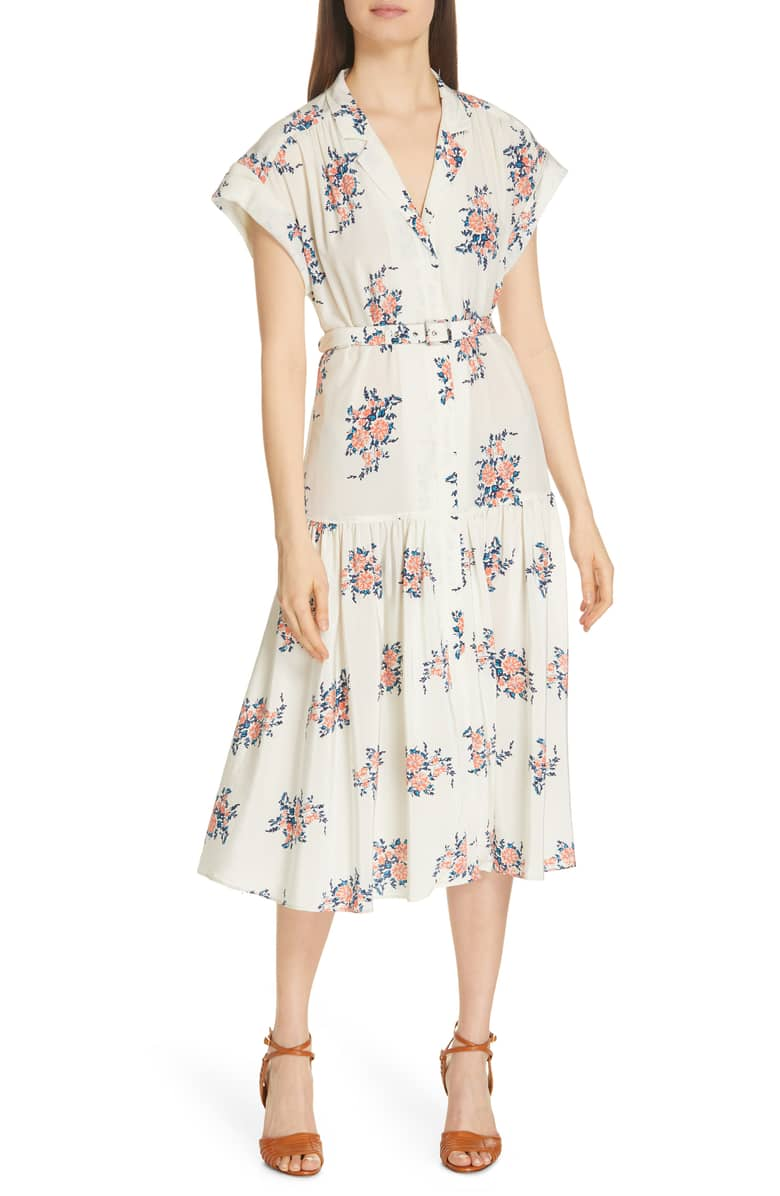 VERONICA BEARD Meagan Print Silk Midi White Dress