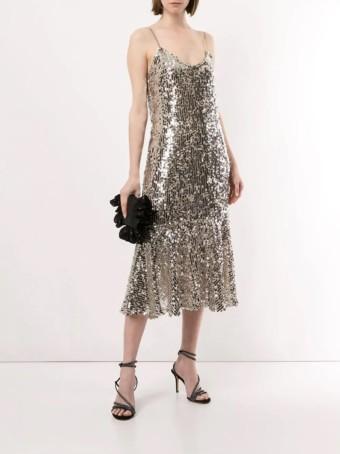 VERONICA BEARD Mykola Silver Dress