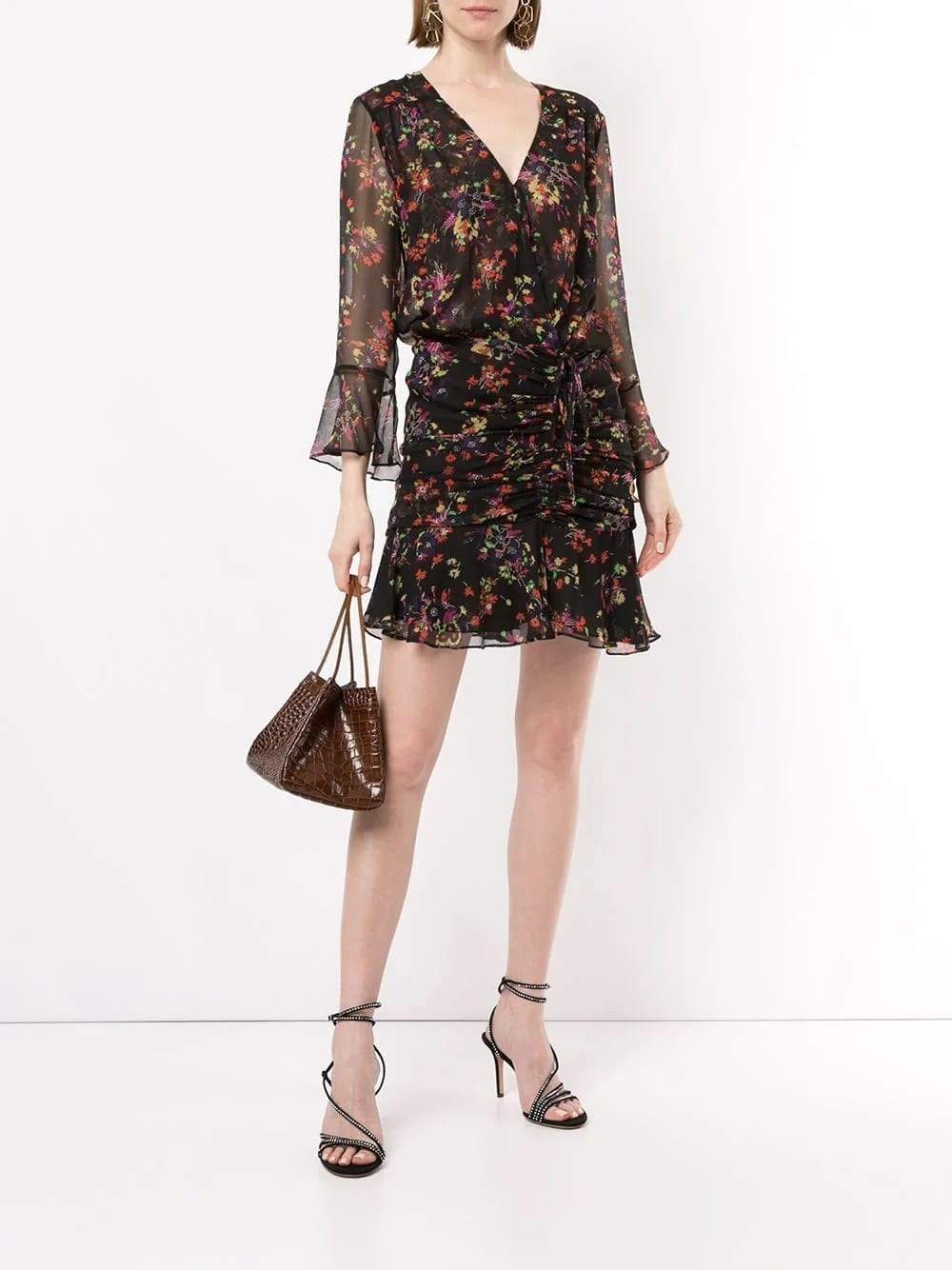 VERONICA BEARD Sean Black Floral Printed Dress