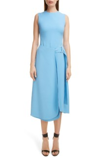 VICTORIA BECKHAM Belted Midi Blue Dress