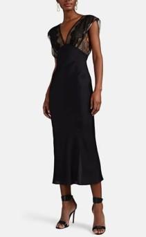 VICTORIA BECKHAM Lace-Detailed Black Midi-Dress