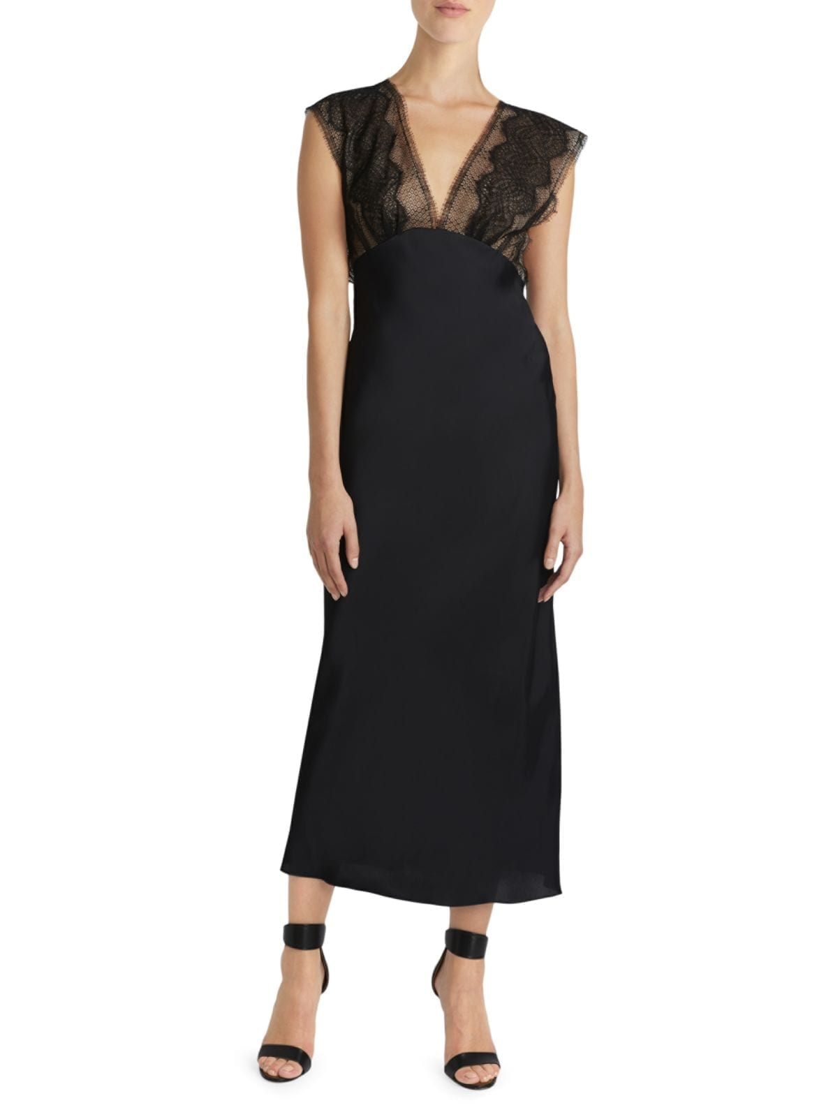 VICTORIA BECKHAM Lace Tabard Midi Black Dress