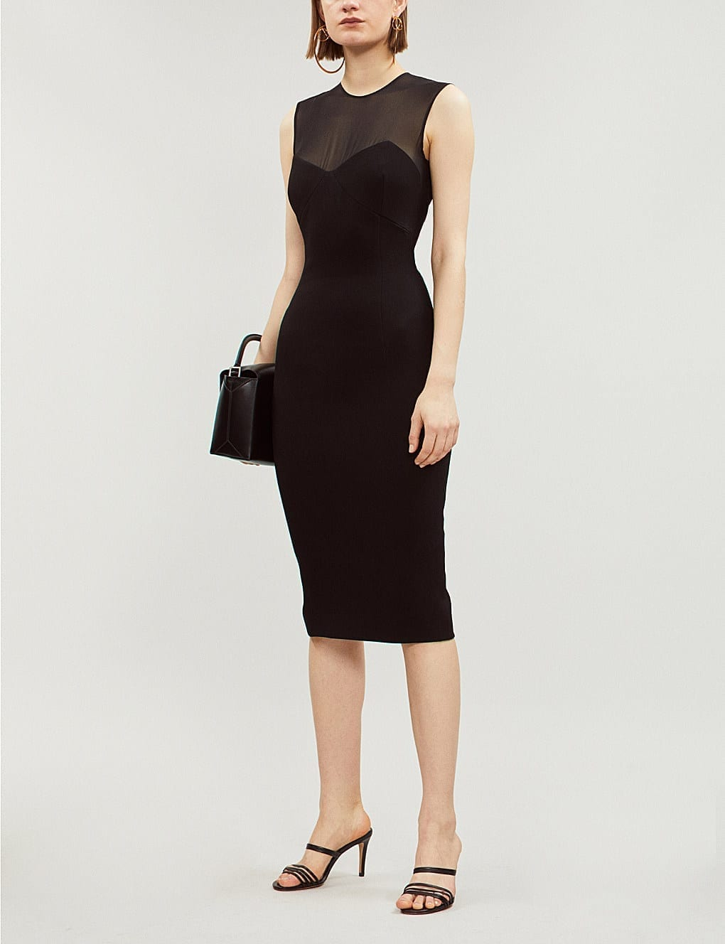 VICTORIA BECKHAM Mesh and Crepe Knee-Length Black Dress