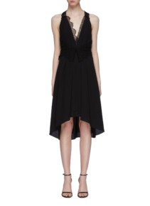 VICTORIA BECKHAM Mix Lace Panel Silk Racerback Black Dress