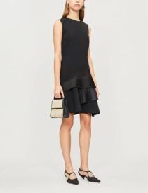 VICTORIA VICTORIA BECKHAM Asymmetric Pleated-Tier Crepe Black Dress