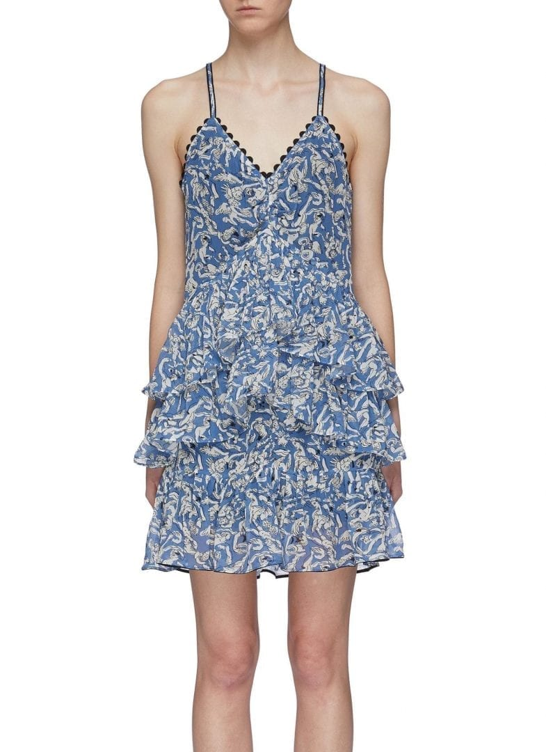 0695802b VICTORIA, VICTORIA BECKHAM Tiered Cherub Print Georgette Camisole Blue Dress