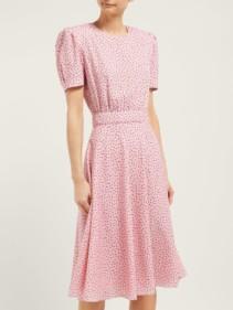 VIKA GAZINSKAYA Polka Dot-Print Crepe Midi Pink Dress