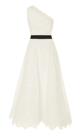 MARCHESA One-Shoulder Silk-Organza Eyelet White Dress