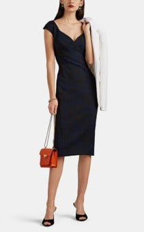 ZAC POSEN Floral Jacquard Navy Dress