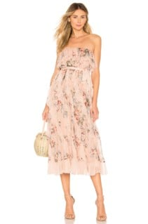 ZIMMERMANN Bowie Waterfall Peach / Floral Printed Dress