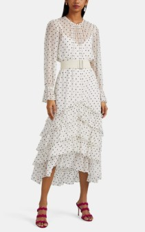 ZIMMERMANN Embroidered-Polka-Dot Silk Chiffon High-Low White Dress
