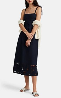 ZIMMERMANN Juno Embroidered Slub Linen Cutout Navy Dress