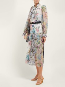 ZIMMERMANN Ninety-Six Floral-Print Crepe De Chine Midi White Dress