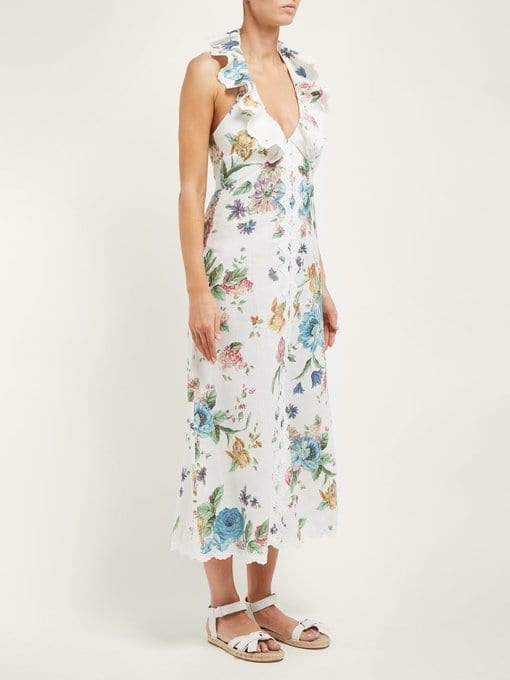 ZIMMERMANN Ninety-Six Floral-Print Linen Midi White Dress