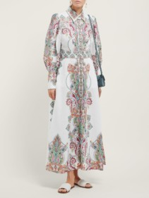 ZIMMERMANN Ninety-Six Paisley-Print White Shirtdress