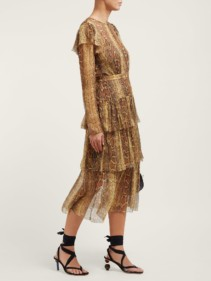 ZIMMERMANN Ninety-Six Snakeskin-Print Fluted Brown Dress